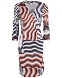 Diane von Furstenberg Irreguar Striped Silk Jersey New Julian Two Wrap Dress M - Multicolour