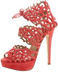 9e4405a36d68b Charlotte Olympia - Coral Laser Cut Suede Goodness Gracious Reef Platform  Sandals - Lyst