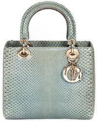 Dior Green Python Leather Lady Medium Bag
