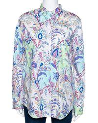 Etro Multicolour Paisley Printed Stretch Cotton Button Front Shirt - Blue