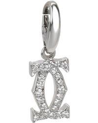 Cartier Interlocking C Diamond 18k White Gold Pendant - Metallic