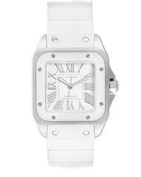 Cartier White Stainless Steel Santos 100 W20129u2 Women's Wristwatch 32 Mm
