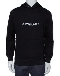 Givenchy Black Cotton Blurred Logo Printed Hoodie