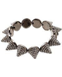 Eddie Borgo Crystal Pave Cone Gunmetal Tone Link Bracelet - Gray