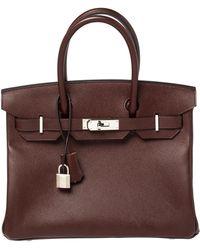 Hermès Bordeaux Epsom Leather Palladium Hardware Birkin 30 Bag - Multicolour