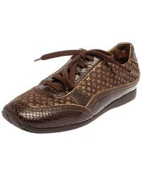 Louis Vuitton Brown Monogram Satin And Python Embossed Leather Trim Low Top Trainers