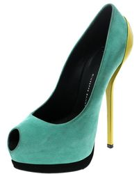 Giuseppe Zanotti Two Tone Suede Peep Toe Platform Court Shoes Size 36 - Green