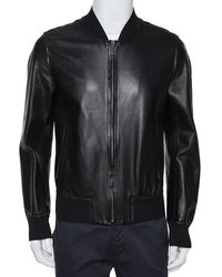 Dolce & Gabbana Black Leather Zipper Front Jacket