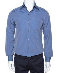 Tom Ford Dark Blue Chambray Cotton Long Sleeve Shirt M