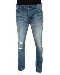 Saint Laurent Blue Light Wash Distressed Denim Jeans