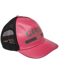Gucci Pink Leather Logo Baseball Cap