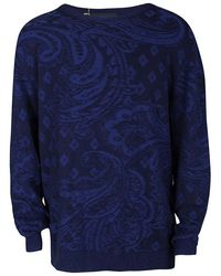 Etro Navy Blue Cotton Cashmere Patterned Knit Jumper 2xl