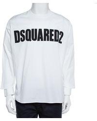 DSquared² White Logo Print Cotton Long Sleeve Shirt