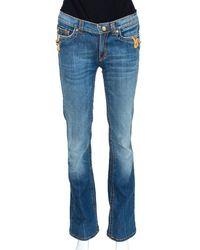 Roberto Cavalli Indigo Medium Washed Denim Snake Metal Detail Jeans - Blue