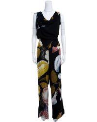 Vivienne Westwood - Anglomania Black Leaf Printed Draped Tie Detail Jumpsuit S - Lyst