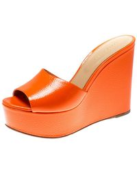 Sergio Rossi Orange Textured Patent Leather Lakeesha Wedge Slides Size 39.5