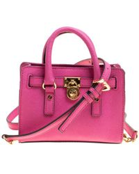 6ea5c75dd0e8 MICHAEL Michael Kors - Hot Saffiano Leather Mini Hamilton Crossbody Bag -  Lyst