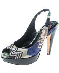 Missoni - Patterend Knit Peep Toe Slingback Sandals - Lyst