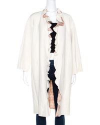 Missoni - Off White Silk And Linen Blend Ruffle Detail Contrast Lined Long Coat M - Lyst