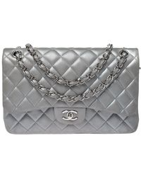 Chanel Silver Quilted Leather Jumbo Classic Double Flap Bag - Metallic