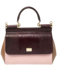 Dolce & Gabbana Tricolor Leather And Lizard Embossed Leather Small Miss Sicily Top Handle Bag - Multicolour