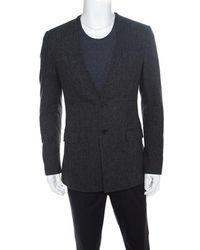 Givenchy Gray Wool Herringbone Pattern Collarless Tailored Jacket L