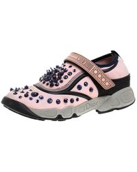 Dior Pink Stretch Fabric Fusion Embellished Low Top Sneakers