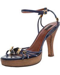 Marc Jacobs Blue Leather Strappy Ankle Strap Platform Sandals