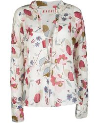 Marni Multicolour Floral Printed Cotton Long Sleeve Blouse S