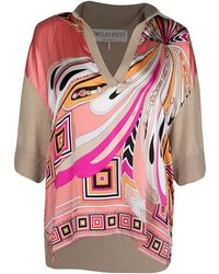 Emilio Pucci - Multicolour Printed Silk And Wool Short Sleeve High Low Top S - Lyst