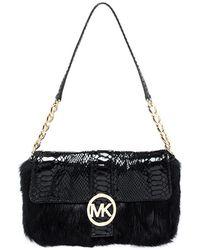 Michael Kors Black Python Embossed Leather And Faux Fur Fulton Shoulder Bag