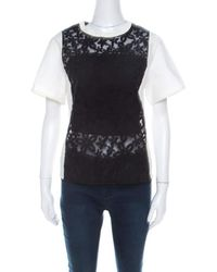 JOSEPH Black And White Leather Floral Lace Detail Jill Broderie Anglaise Top M
