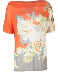 Etro Multicolor Knit Floral Printed Boat Neck Top