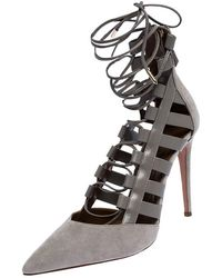 Aquazzura Aquazurra Grey Suede And Leather Amazon Cut Out Strappy Pointed Toe Court Shoes Size 40.5 - Gray