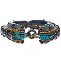 Lanvin Blue Crystal Embellished Bird Cuff Bracelet