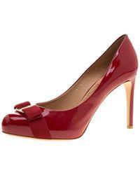 Ferragamo - Patent Leather Carla Vara Bow Pumps - Lyst