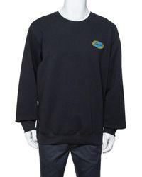Supreme Black Cotton Chain Logo Embroidered Sweatshirt