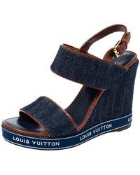 Louis Vuitton Blue Denim Ankle Strap Wedge Platform Sandals