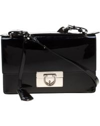 Ferragamo Black Patent Leather Aileen Top Handle Bag