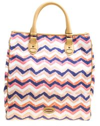 Missoni - /beige Printed Canvas And Leather Tote - Lyst