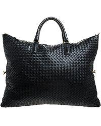 Bottega Veneta Black Intrecciato Leather Convertible Tote
