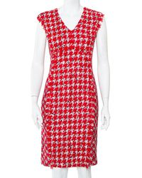 Carolina Herrera Ch Red Tweed Sleeveless Sheath Dress