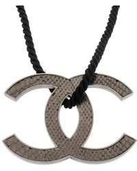Chanel Jumbo Leather Cc Reversible Pendant Cord Necklace - Grey