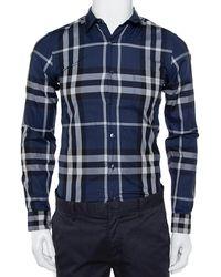 Burberry Brit Navy Blue Checkered Cotton Button Front Shirt