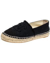 Chanel Black Canvas Cc Logo Espadrille Flats
