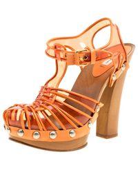 Marc Jacobs Orange Pvc And Leather T-strap Clog Sandals