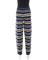 JOSEPH Navy Blue Wool Fair Isle Knit Trousers