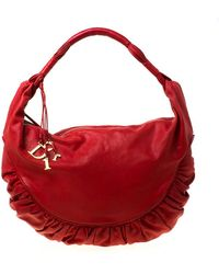 Dior Red Leather Gypsy Hobo