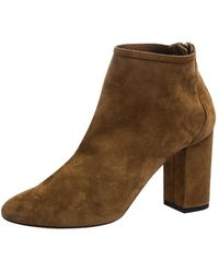 Aquazzura Brown Suede Downtown Ankle Boots