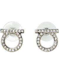 Ferragamo Silver Tone Crystal Gancini Stud Earrings - Metallic